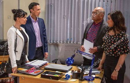 Ep 8545 Wednesday 24th July 2019 Rishi Sharma, as played by Bhasker Patel, assures his Jai Sharma, as played by Chris Bisson, and Priya Sharma, as played by Fiona Wade, the business is safe, glossing over the loan he's thinking of getting from Kim. Rishi reassures Manpreet, as played by Rebecca Sarker, he'll be able to negotiate a better rate with Kim. With Priya Sharma, as played by Fiona Wade.