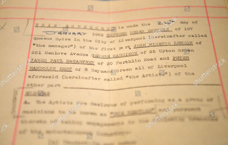 A view of the 1962 original and first management contract between members of The Beatles and English music entrepreneur Brian Epstein, which was signed by John Lennon, Paul McCartney, George Harrison and Pete Best at a preview of the sale of English Literature, History Children's Books and Illustrations at Sotheby's auction house in London, Britain, 05 July 2019. The online bidding closes on 09 July.