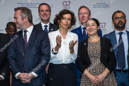 (front row L-R) European Affairs junior Minister Jean-Baptiste Lemoyne,  UNESCO'S Director-General Audrey Azoulay, Canadia Minister for Equality and Women Rights Maryam Monsef pose for a family picture at G7 Development and Education Ministers Meeting in Paris, France, 05 July 2019. France hosts the G7 Development Ministers, the G5 Sahel countries (Burkina Faso, Chad, Mali, Mauritania and Niger) and major international organizations in the development field (United Nations, World Bank, African Development Bank, Organisation for Economic Co-operation and Development, World Health Organization).