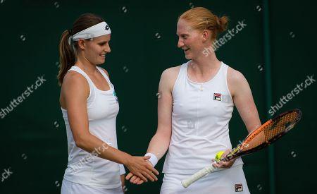 Greet Minnen & Alison Van Uytvanck of Belgium playing doubles