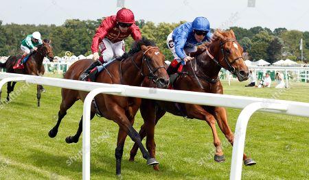 LASER SHOW (Tom Queally) beats RIOT (left) in The Irish Stallion Farms EBF Novice Stakes Sandown