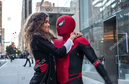 Stock Picture of Zendaya as MJ and Tom Holland as Peter Parker/Spider-Man
