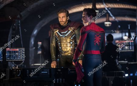 Jake Gyllenhaal as Quentin Beck/Mysterio and Tom Holland as Peter Parker/Spider-Man