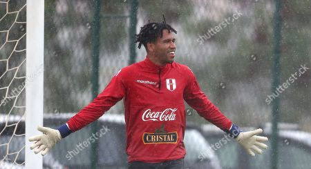 Peru's goalkeeper Pedro Gallese reacts during a training session in Rio de Janeiro, Brazil,. Peru will face Brazil for the Copa America final soccer match on July, 7
