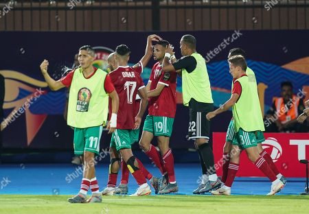 FRANCE OUT Youssef En-Nesyri of Morocco celebrating scoring to 1-1 during the African Cup of Nations match between Marocco and Benin at the Al Salam Stadium in Cairo, Egypt