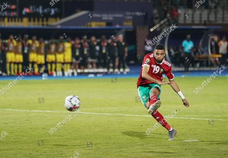 FRANCE OUT Youssef En-Nesyri of Morocco shooting a penalty during the African Cup of Nations match between Marocco and Benin at the Al Salam Stadium in Cairo, Egypt