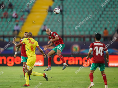 FRANCE OUT Karim El Ahmadi Aroussi of Morocco during the African Cup of Nations match between Marocco and Benin at the Al Salam Stadium in Cairo, Egypt