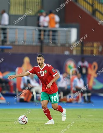 FRANCE OUT Younes Belhanda of Morocco during the African Cup of Nations match between Marocco and Benin at the Al Salam Stadium in Cairo, Egypt