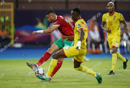 FRANCE OUT Youssef En-Nesyri of Morocco shooting on goal during the African Cup of Nations match between Marocco and Benin at the Al Salam Stadium in Cairo, Egypt