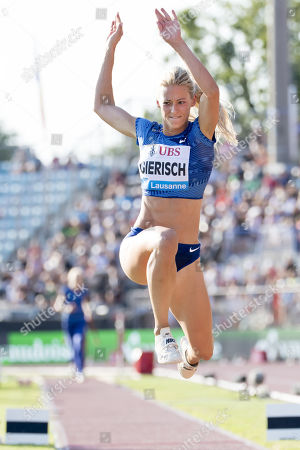 Kristin Gierisch from Germany competes in the women's triple jump event at the Athletissima IAAF Diamond League international athletics meeting in Lausanne, Switzerland, 05 July 2019.