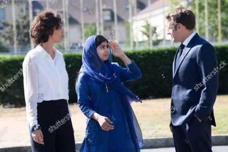 UNESCO'S Director-General Audrey Azoulay, Nobel Peace Prize laureate Malala Yousafzai and French President Emmanuel Macron