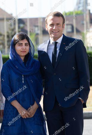 Nobel Peace Prize laureate Malala Yousafzai and French President Emmanuel Macron
