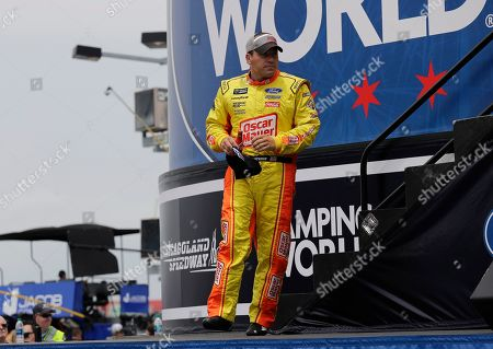 Ryan Newman walks on the stage during drivers introduction before the NASCAR Cup Series auto race at Chicagoland Speedway in Joliet, Ill