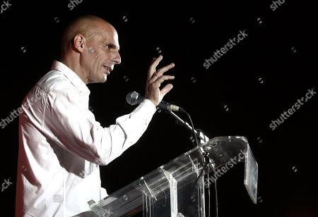 Preelection rally Yanis Varoufakis Athens Stock Photos