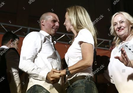 Stock Picture of Yanis Varoufakis (L), former Greek finance minister and co-founder of the 'Democracy in Europe Movement 2025' (DiEM25) with his wife Danae Stratou (2-R) after his speech his main pre-election rally in central Athens, Greece, 05 July 2019. General elections in Greece are scheduled on 07 July 2019.