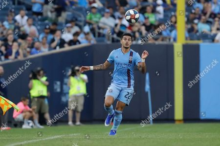 New York City's Ronald Matarrita (22) during the first half of an MLS soccer match against the Seattle Sounders, in New York