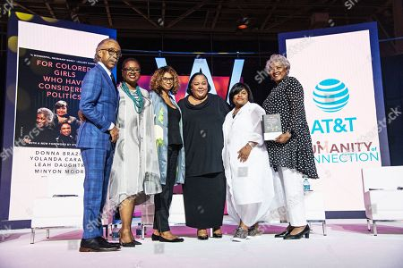 Stock Photo of Al Sharpton; Leah D. Daughtry; Yolanda Caraway; Minyon Moore; Donna Brazile. Rev. Al Sharpton (from left), Rev. Leah D. Daughtry, Yolanda Caraway, Minyon Moore, and Donna Brazile seen at the 2019 Essence Festival at the Ernest N. Morial Convention Center, in New Orleans