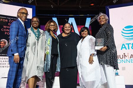 Al Sharpton; Leah D. Daughtry; Yolanda Caraway; Minyon Moore; Donna Brazile. Rev. Al Sharpton (from left), Rev. Leah D. Daughtry, Yolanda Caraway, Minyon Moore, and Donna Brazile seen at the 2019 Essence Festival at the Ernest N. Morial Convention Center, in New Orleans