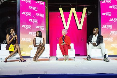 Dr. Jess; Asante Mcgee; Rebecca King Crews; Terry Crews. Dr. Jess (from left), Asante Mcgee, Rebecca King Crews, and Terry Crews seen at the 2019 Essence Festival at the Ernest N. Morial Convention Center, in New Orleans