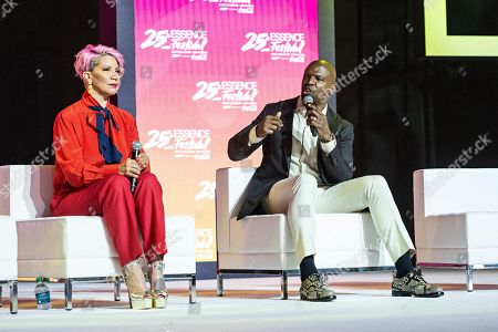 Terry Crews; Rebecca King Crews. Rebecca King Crews, left, and Terry Crews speak at the 2019 Essence Festival at the Ernest N. Morial Convention Center, in New Orleans