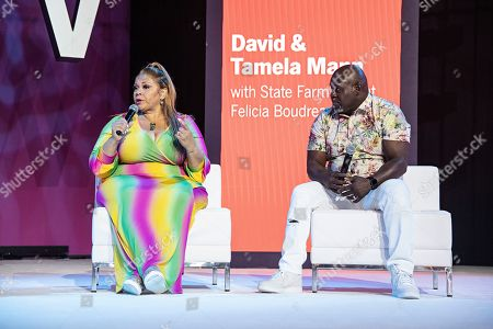 Tamela Mann; David Mann. Tamela Mann, left, and David Mann speak at the 2019 Essence Festival at the Ernest N. Morial Convention Center, in New Orleans