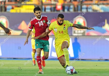 Cebio Soukou (R) of Benin is challenged by Mbark Boussoufa of Morocco during the 2019 Africa Cup of Nations (AFCON 2019) round of 16 soccer match between Morocco and Benin at the Al Salam Stadium in Cairo, Egypt, 05 July 2019