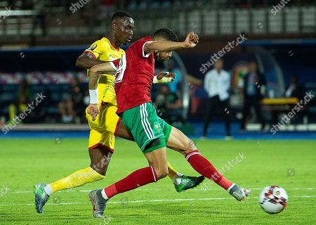 Youssef En-Nesyri (R) of Morocco scores during the 2019 Africa Cup of Nations (AFCON 2019) round of 16 soccer match between Morocco and Benin at the Al Salam Stadium in Cairo, Egypt, 05 July 2019.
