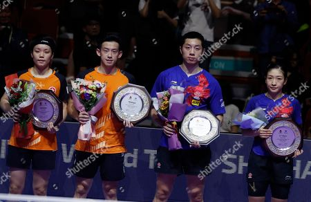(L-R) Winners Wong Chu Ting and Doo Hoi Kem of Hong Kong and runner-ups Xu Xin and Liu Shiwen of China hold up their trophies during the award ceremony for the mixed doubles table tennis at the Seamaster 2019 International Table Tennis Federation (ITTF) World Tour Shinhan Korea Open at Sajik Gym in Busan, South Korea, 06 July 2019.