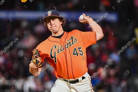 San Francisco Giants starting pitcher Derek Holland (45) in action during the MLB game between the St. Louis Cardinals and the San Francisco Giants at Oracle Park in San Francisco, California