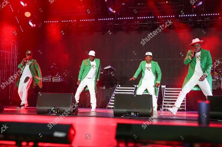 RBRM, Ronnie DeVoe, Bobby Brown, Ricky Bell, Michael Bivins. RBRM (Ronnie, Bobby, Ricky & Mike) perform at the 2019 Essence Festival at the Mercedes-Benz Superdome, in New Orleans