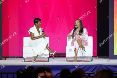 Tamron Hall, Jemele Hill. Tamron Hall and Jemele Hill seen at the 2019 Essence Festival at the Ernest N. Morial Convention Center, in New Orleans