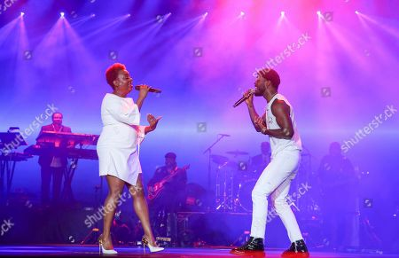 Ledisi, Luke James. Ledisi and Luke James perform at the 2019 Essence Festival at the Mercedes-Benz Superdome, in New Orleans