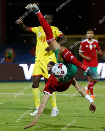 Morocco's Youssef En-Nesyri in action during the African Cup of Nations round of 16 soccer match between Morocco and Benin in Al Salam stadium in Cairo, Egypt