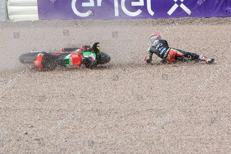 #41 Aleix Espargaro, Spanish: Aprilia Racing Team Gresini crashes at turn 1 during the HJC Helmets Motorrad Grand Prix Deutschland at Hohenstein-Ernstthal, Chemnitz, Saxony