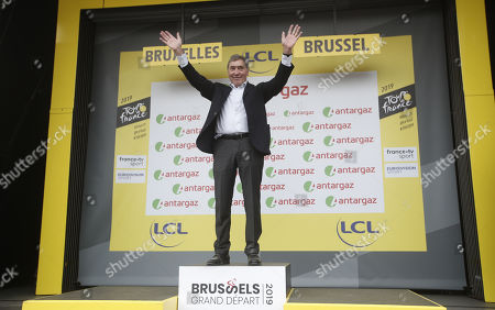 Belgian cycling legend Eddy Merckx reacts on the podium following the 1st stage of the 106th edition of the Tour de France cycling race over 194.5km around Brussels, Belgium, 06 July 2019.