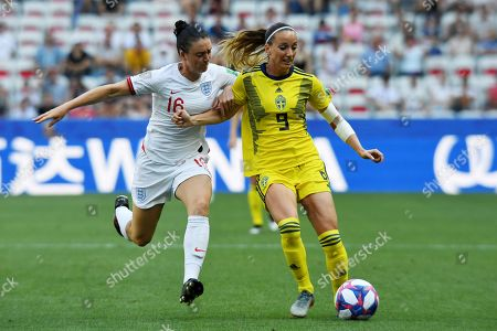Jade Moore of England and Kosovare Asllani of Sweden