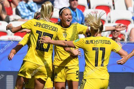 Kosovare Asllani of Sweden celebrates scoring the 1st goal