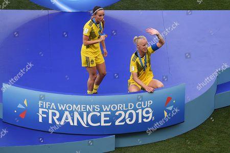 Nilla Fischer and Kosovare Asllani celebrating the victory at full time