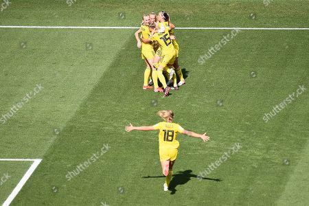 Stock Image of Kosovare Asllani of Sweden celebrates scoring the 1st goal