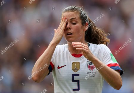 Kelley O'Hara of USA reacts after a missed opportunity at goal