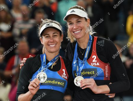 USA's Alix Klineman and April Ross (Silver Medal) on the podium during the Beach Volleyball World Championships match in Hamburg, Germany, 06 July 2019.