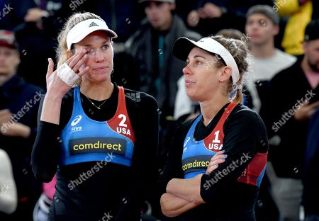 USA's Alix Klineman and April Ross (L-R) during medal ceremony at the Beach Volleyball World Championships match in Hamburg, Germany, 06 July 2019.