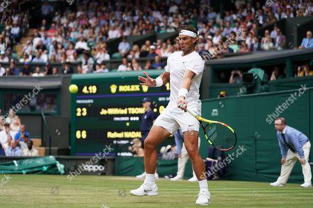Rafael Nadal (ESP) in action against Jo-Wilfred Tsonga (FRA)