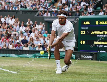 Jo-Wilfred Tsonga (FRA)  in action against Rafael Nadal (ESP)