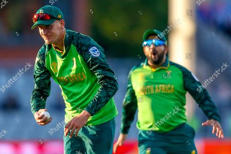 David Warner of Australia (not in picture) caught Chris Morris of South Africa who bows towards the crowd during the ICC Cricket World Cup 2019 match between Australia and South Africa at Old Trafford, Manchester