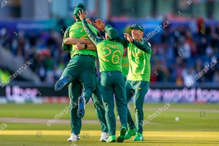 David Warner of Australia (not in picture) caught Chris Morris of South Africa during the ICC Cricket World Cup 2019 match between Australia and South Africa at Old Trafford, Manchester