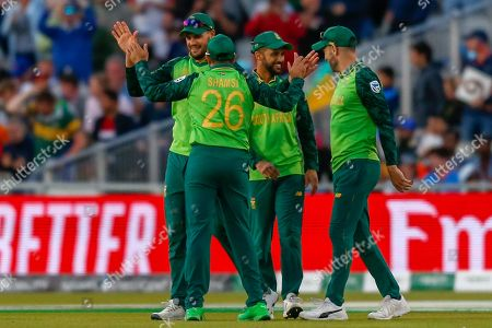 WICKET Alex Carey of Australia (not in picture) bowled Chris Morris of South Africa (not in picture) caught Aiden Markram of South Africa during the ICC Cricket World Cup 2019 match between Australia and South Africa at Old Trafford, Manchester