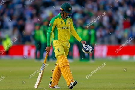 WICKET Alex Carey of Australia bowled Chris Morris of South Africa (not in picture) caught Aiden Markram of South Africa (not in picture) during the ICC Cricket World Cup 2019 match between Australia and South Africa at Old Trafford, Manchester