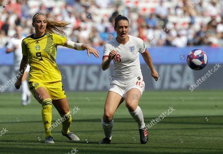 Sweden's Kosovare Asllani, left, and England's Jade Moore challenge for the ball during the Women's World Cup third place soccer match between England and Sweden at Stade de Nice, in Nice, France