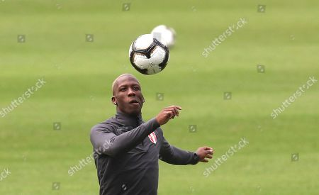 Peru's Luis Advincula views a ball during a training session in Rio de Janeiro, Brazil, . Peru will face Brazil for the Copa America final soccer match on July, 7